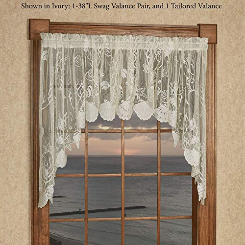 Touch of Class Sea Treasures Lace Swag Valance Pair 56 x 38