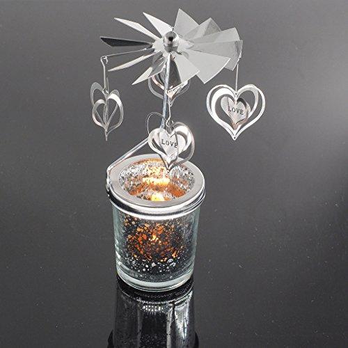 SimpleLife Dreh Spinning Teelicht Kerze Metall Teelichthalter Karussell Dekoration