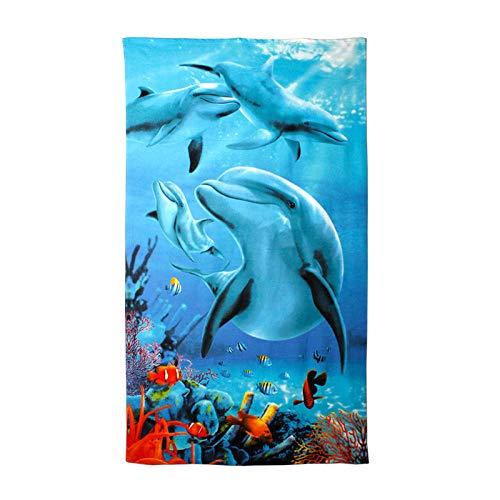 wefwef Toalla De Playa,Impresión De Patrón De Delfines Toallas De Playa Extra Grande 100X180Cm Microfibra para Hombres Y Mujeres Ideal para Nadar SPA Viajes Yoga Deportes Acampar Tumbona Baño
