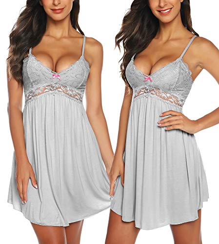 RSLOVE Women Lace Modal Sleepwear Chemises V-Neck Full Slip Babydoll Nightgown Sleep Dress Gray S