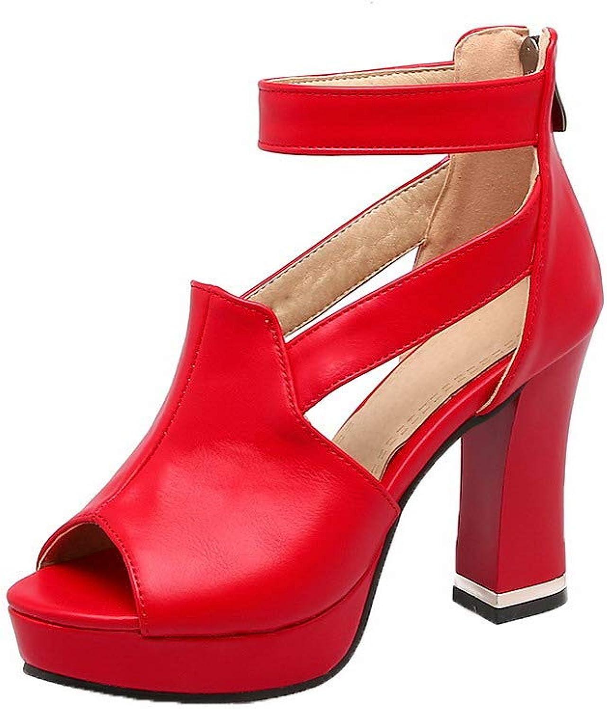 AllhqFashion Women's Zipper Pu High-Heels Solid Sandals