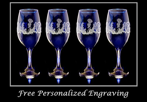 Scottish Thistle Cobalt Blue Wine Glass Set of 4 - Free Shipping & Personalized Engraving