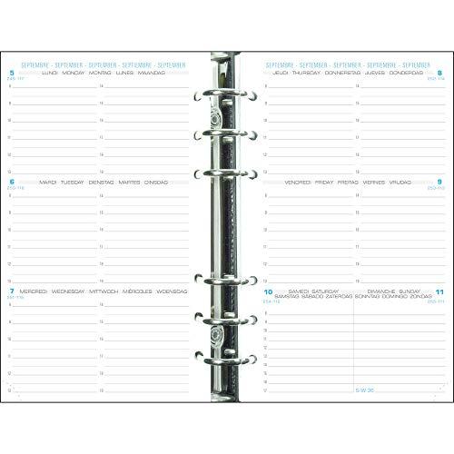 Exacompta - 18240E - Recharge perforée - Exatime 17 - 10,5 cm x 17,2 cm - la semaine sur 2 pages avec une grille horizontale - Septembre 2021 à Décembre 2022 - Papier Blanc