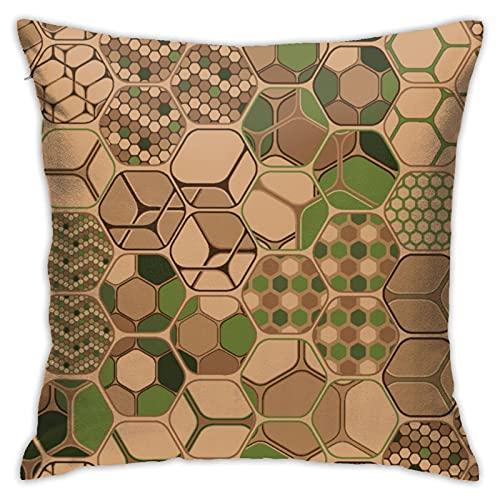 Hexagons Trio - Fundas de almohada horizontales de 45 cm x 45 cm, diseño casual de moda, fundas de almohada para el hogar, sofá, decoración