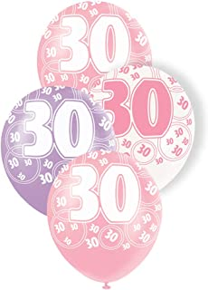 """Unique Party 30 Latex Balloons, Pearl Pink, Pearl Lavendar and Pearl White, 30cm/12"""", Pack of 6"""