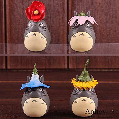 Romantic-Z Mi Vecino Totoro Figura de acción Season Flower Ver. PVC Hayao Miyazaki Studio Ghibli Toys Coleccionable Modelo de Juguete 4pcs / Set