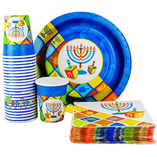 Happy Hanukkah Illumination Design - Paper Goods Party Set - 7' and 10' Plates, Cups, and Napkins