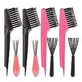 Sonku - Juego de 8 cepillos de limpieza para peine, mini cepillo de metal para eliminar el polvo del cabello, salón de belleza, uso en casa y hotel (rosa y negro)
