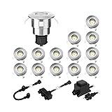 parlat LED luce da incasso a pavimento ATRIA per esterni in alluminio bianco caldo, 14lm ciascuno, IP65, 40mm Ø 14er Set