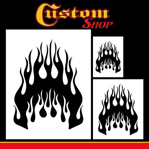 Custom Shop Airbrush Flame Licks Schablonen-Set (Flamme Licks Design #1 in 3 Maßstäben) – Lasergeschnittene wiederverwendbare Vorlagen – Auto Motorrad Grafik Kunst