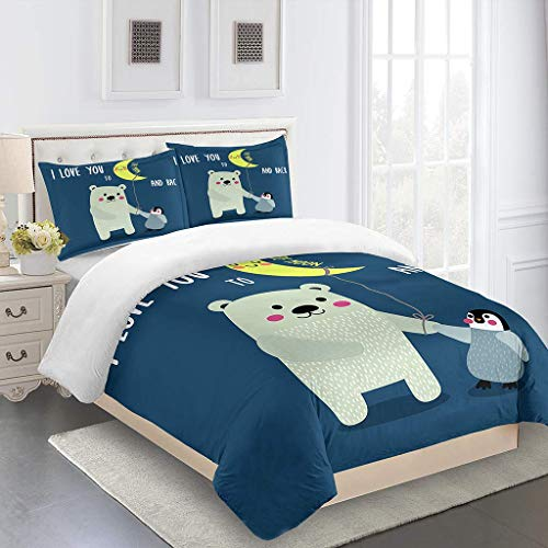 OJYUXD Duvet Cover Super King Bed Indoor Warm Comfortable Room Bedding Quilt Set 3 Pieces Cartoon Bear And Penguin Polyester Microfibre Duvet Covers Anti-Fading Easy Carei - 220X230Cm