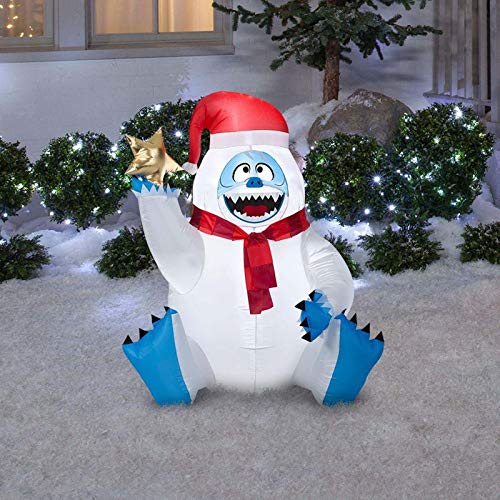 Inflatable Bumble With Star; Use To Greet Guests and Neighbors; Lights up; Self-inflates in Seconds and Deflates for Easy Storage