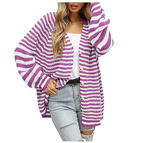 Lenfeshing Cárdigan de Punto Suelto A Rayas de Otoño / Invierno para Mujer Abrigo Estilo Suéter Casual de Botonadura Sencilla