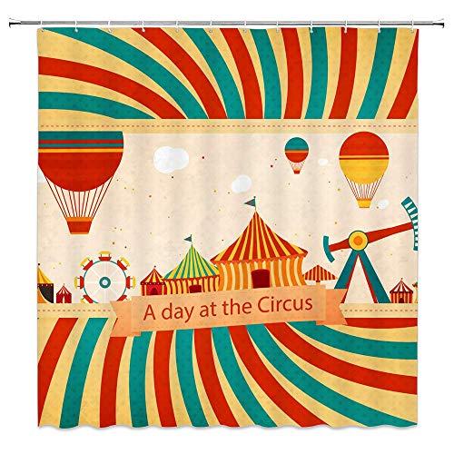 N\A Zirkus Karneval Party Duschvorhang Dekor Heißluftballon Riesenrad Rot Blau Streifen Badezimmer VorhangPolyester Stoff Maschine Waschbar mit 12 Stück Haken