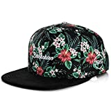 Blackskies Oahu Vol. II Snapback Cap   Unisex Gorra de Béisbol Flores Floral Suede Negro Blanco