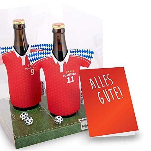 vereins-Trikot-kühler Away für Bayern Fans   2er Geschenk-Box-Edition  2X Trikots   Fußball Fanartikel Jersey Bierkühler by ligakakao.de