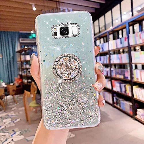 Samsung Galaxy S8 Plus Coque Transparent Glitter avec Support Bague,étoilé Bling Paillettes Motif Silicone Gel TPU Housse de Protection Ultra Mince Clair Souple Case pour Galaxy S8 Plus,Vert