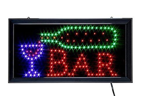 Ducomi® - Enseigne lumineuse LED avec inscription,panneau vintage avec néons lumineux à intermittence,idéal pour les magasins, pubs, pizzerias ou maison-48x 25x 2,5cm Bar