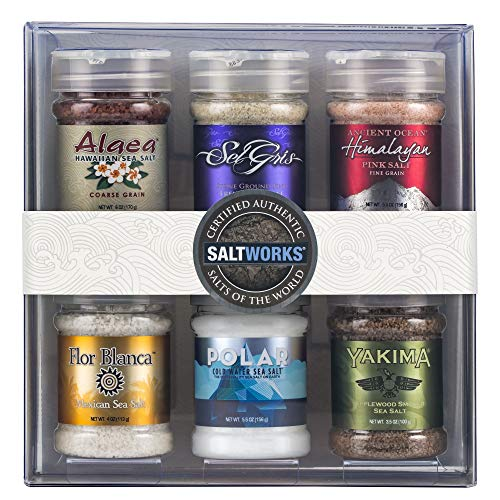 SaltWorks Salts of the World Collection Gift Set, Premium Sea Salt, Set of 6, 39.8 Ounce