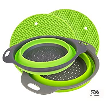 Collapsible Colander Set,IFREE 2 Pack Collapsible Strainers Set Over the Sink Colander with Handles,Folding Strainer for Kitchen 6-quart Capacity with 2 Pack Silicone Hot Pads (Green & Grey)