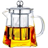 with Infuser Clear Glass Teapot,Tea Pot with Tea Strainers,Borosilicate Glass Teapot with Infusers for Loose TeaHeat Resistant Loose Leaf Teapot,Stovetop Dishwasher Safe (550ML/18OZ)