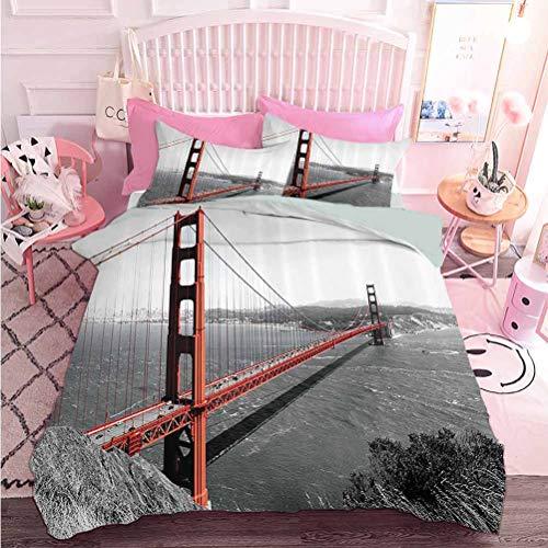 Ensemble de 3 pièces pour toutes les saisons Golden Gate Bridge Histoire du génie civil Monochromatique Voyage Destinations Vue (3 pièces, Surdimensionné) 1 housse de couette et 2 taies d'oreiller