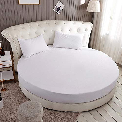 RKRXDH Mattress Cover 100% Cotton Round Bed Fitted Sheet Round Bedspread Non-slip Mattress Cover Solid Color Round Bed Sheet Mattress Protector (Color : Color 9, Size : 1pc 200cm Sheet)