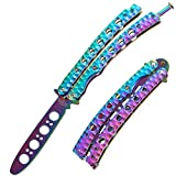 Butterfly Knife Trainer - Balisong Trainer - Practice Butterfly Knife - Balisong Butterfly Knives NOT Real NOT Sharp Blade - Black Dull Trick Butterfly Knifes - Butter Fly Knife Training CSGO K08
