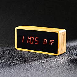 Digital Alarm Clock, Electronic LED Time Temperature Red Display, 12/24Hr, 3 Alarm Settings, Plug-in Bamboo Made Clock for Bedroom, Kids, Elder, Heavy Sleepers, etc