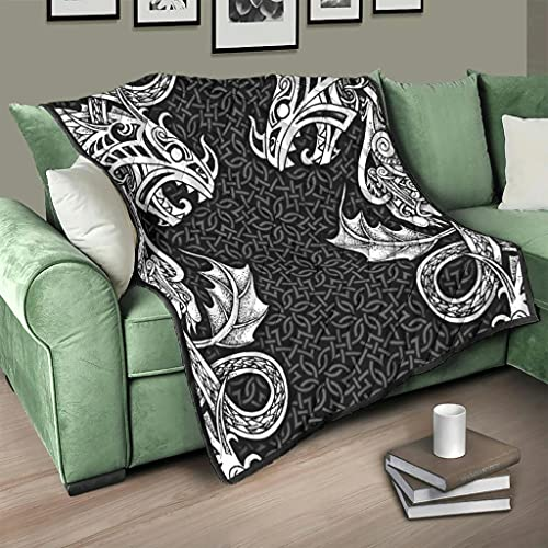Flowerhome Colcha vikinga con diseño de dragón y runas y runas (130 x 150 cm), color blanco