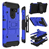 Case Compatible with LG G8 ThinQ/LG G8, Zenic Heavy Duty Shockproof Hybrid Full-Body Protection Case with Swivel Belt Clip and Kickstand for LG G8 ThinQ/LG G8(Blue)