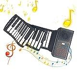 Piano de Teclado Enrollable Plegable, 61 Teclas Piano Digital Bluetooth Portátil, Piano Teclado de Música Electronico,20 Demostraciones de Música, 128 Ritmos, USB Recargable MIDI Altavoces Integrados