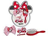 Disney Minnie Mouse – Accesorios para el pelo de niña con cepillo, 2 gomas elásticas, aros, lazo, talla única, set regalo Disney