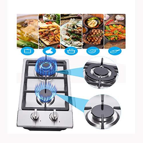 Kacsoo Cocina de gas incorporada de 2 quemadores, cocina de gas 2 quemadores, cocina de gas Propano/Cocina de gas natural LPG/NG Cocina de gas de doble combustible 2 quemadores