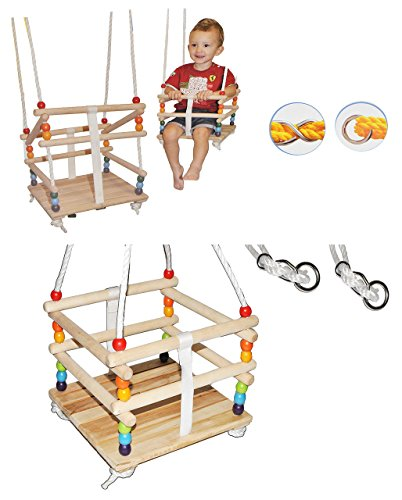 alles-meine.de GmbH Gitterschaukel mit abnehmbaren Gurt - Babyschaukel / Kinderschaukel - Leichter Einstieg ! - Schaukel aus Holz - mitwachsend & verstellbar - Holzgitterschaukel..