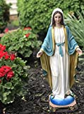 FOTE HOME GOODS Blessed Virgin Mother Mary Statue - 24' Polyresin Immaculate Conception Religious Statue for Garden, Outdoor, Patio, Cemetery Grave Stone