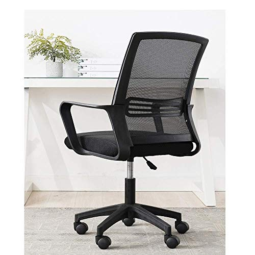N&O Renovation House Office Chair Heavy duty Comfortable Medium Back Home Office Computer Game Table And Chair Ergonomic Design Tilt Mechanism 360 degree Rotation (Color : A)