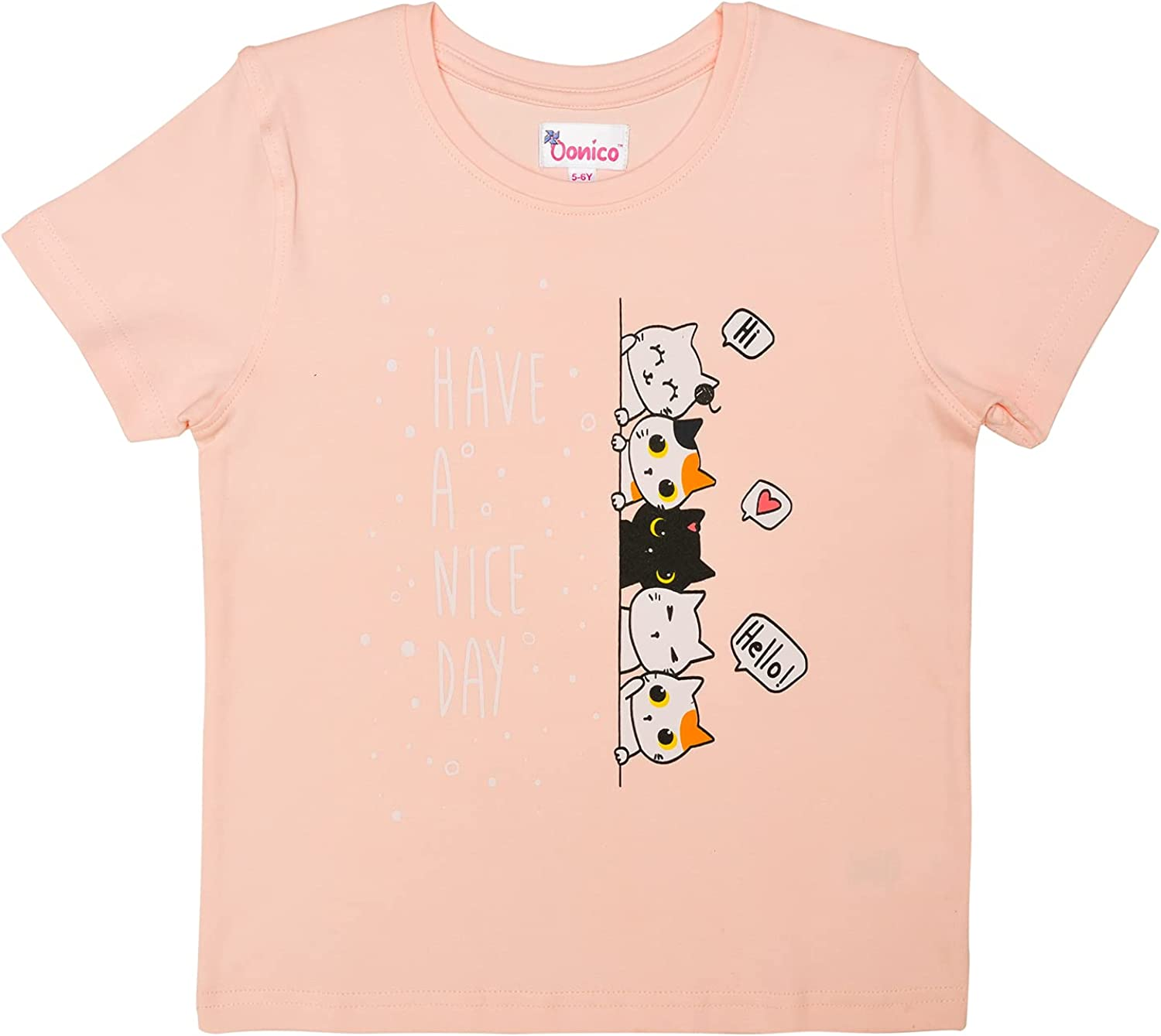 Oonico Cute Pink Five Kitten Printed T-Shirt for Girls