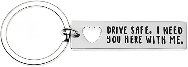 Ms.Clover Trucker Husband Keychain, Drive Safe I Need You Here With Me Hand Stamped Drive Safe Gift Gift for Dad.