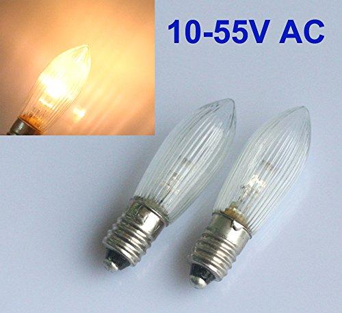 10 Stück E10 LED-Ersatzlampen Glühbirnen Topkerze für Lichterkette 10V-55V AC About 2-6 days to Germany