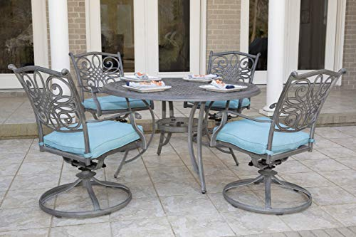 Hanover TRADDNG5PCSW4-BLU, 4 Swivel Rocker Chairs and 48' Round Table, Finish wi Traditions 5-Piece Cast Aluminum Outdoor Patio Dining Set, Gray/Blue