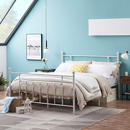 VECELO Classic Style Bed Frame Metal Platform Mattress Foundation/Box Spring Replacement with Steel Headboard & Footboard,Queen Size, White