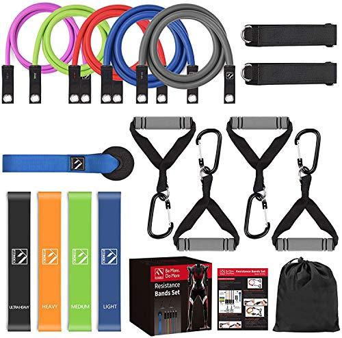 FITINDEX Resistance Bands Set, 22Pcs Widerstandsbänder Set mit Handgriffen,Fußschlaufen und...
