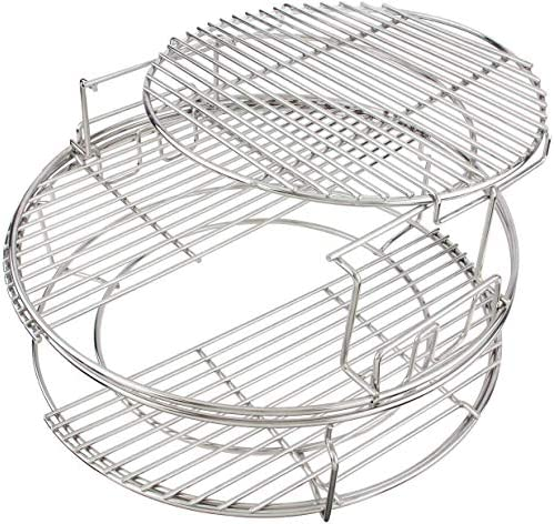 3 Tier 5 Piece EGGspander Replacement Kit for Large Big Green Egg BBQ Grill Basket Stainless product image