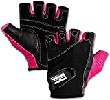 Workout Gloves for Women, Non Slip Leather Padded Weight Lifting Gloves Female for Weightlifting, Fitness, Exercise and Cycling, Washable Gym Gloves for Women Prevents Calluses and Blisters, Pink M