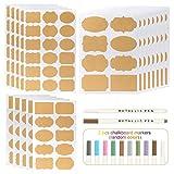 Kesote 204 Etiquetas de Papel Kraft Pegatinas de Pizarra Autoadhesivas Etiquetas de Pizarra para Tarros Decoración con 2 Marcadores de Tiza de Colores