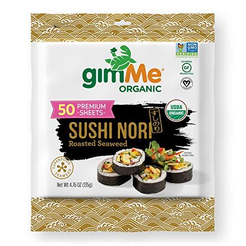gimMe Snacks - Organic Roasted Seaweed - Sushi Nori - non GMO, Gluten Free, Keto, Paleo, 50 Sheet