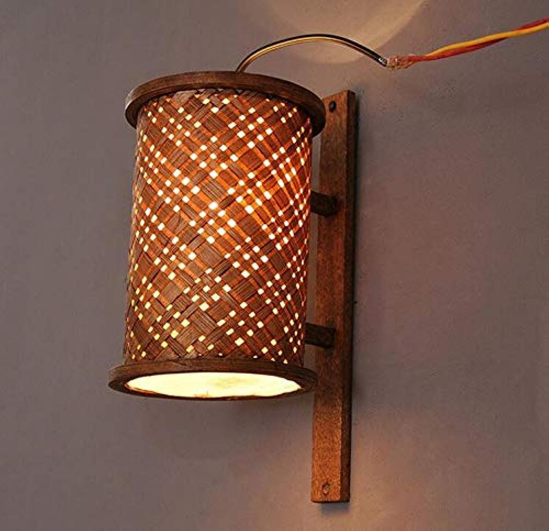 Moderne Kronleuchter Scheinwerfer Stil Handgewebte Bambus Wandleuchte Hlzerne Led E27 1-Kopf Wandleuchte