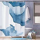 Free Brand Duschvorhang mit Landkarten-Wasserfarben-Welt, Duschvorhänge fürs Badezimmer, wasserdichter Polyester-Stoff, Badewannenvorhang mit 12 Haken, 183 x 183 cm