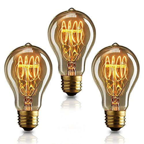 KJLARS 3x Vintage Edison Glühbirne E27 40W A19 Glühlampe Dimmbar Warmweiß Retro Birne Antike Filament Leuchtmittel Ideal für Nostalgie Beleuchtung